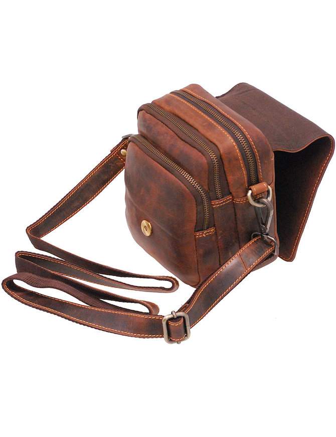 Vintage Brown Cross Body Travel Bag and Belt Pouch #P163201N