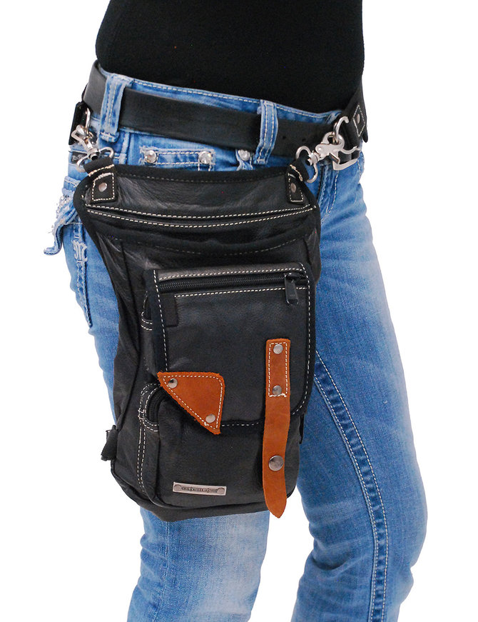 Large Premium Leather CCW Thigh Bag w/Brown Tabs #TB8880GKN