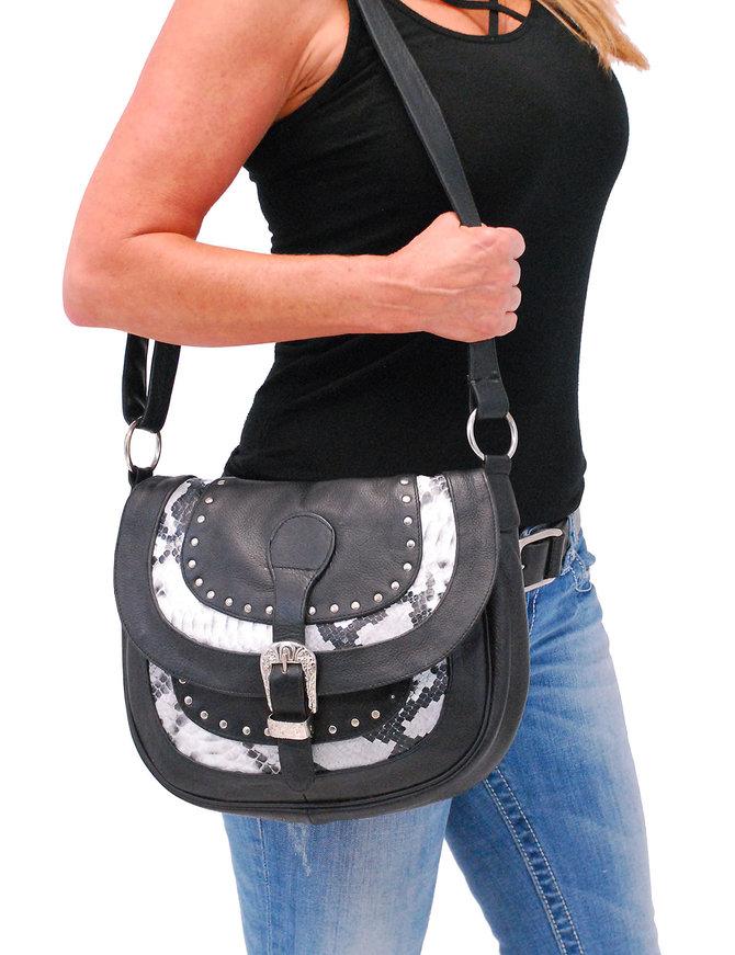 Snake Inlay Large Black Leather CCW Handbag #P9746SNRK