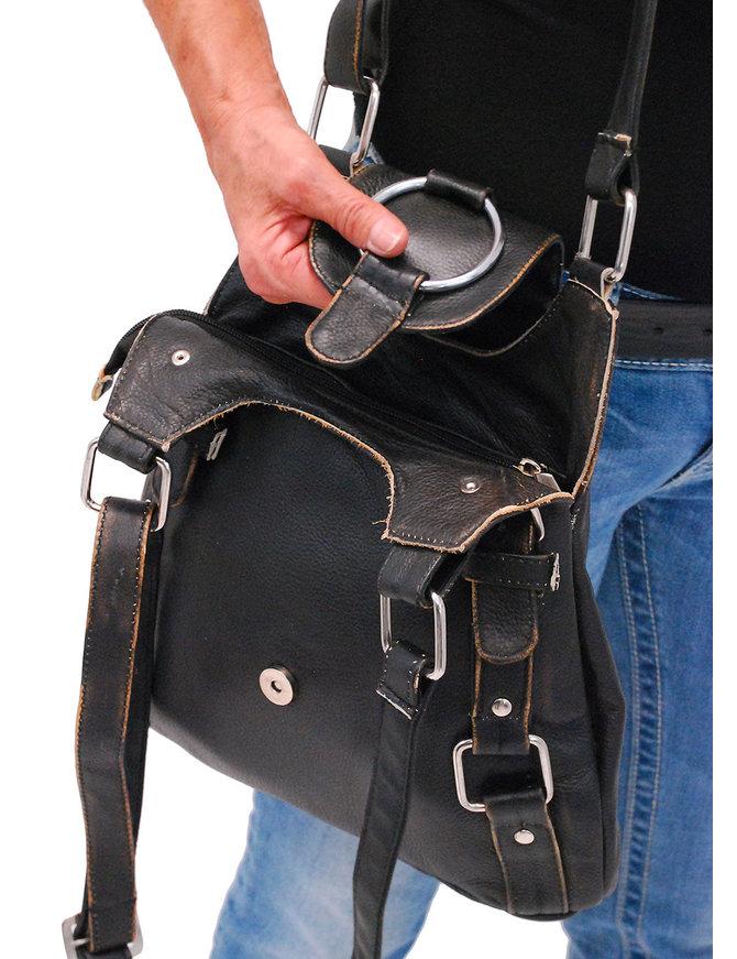 Vintage Brown Large O-Ring Leather CCW Handbag #P9796DN