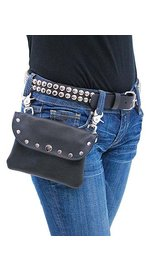 PKK13046RK - Wide Black Leather Clip-On Hip Klip Bag w/Studs #PKK13046RK