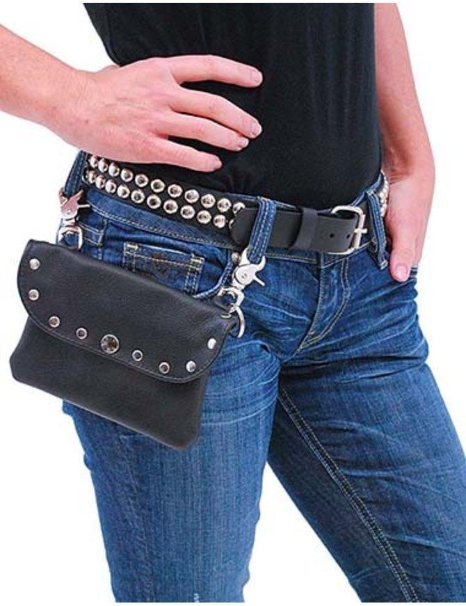 PKK13046RK - Wide Black Leather Clip-On Hip Klip Bag w/Studs #PKK13046RK
