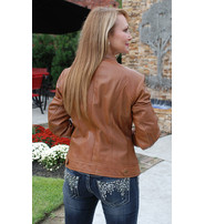 First MFG Women's Tan Lambskin Leather Scooter Jacket #L10251N