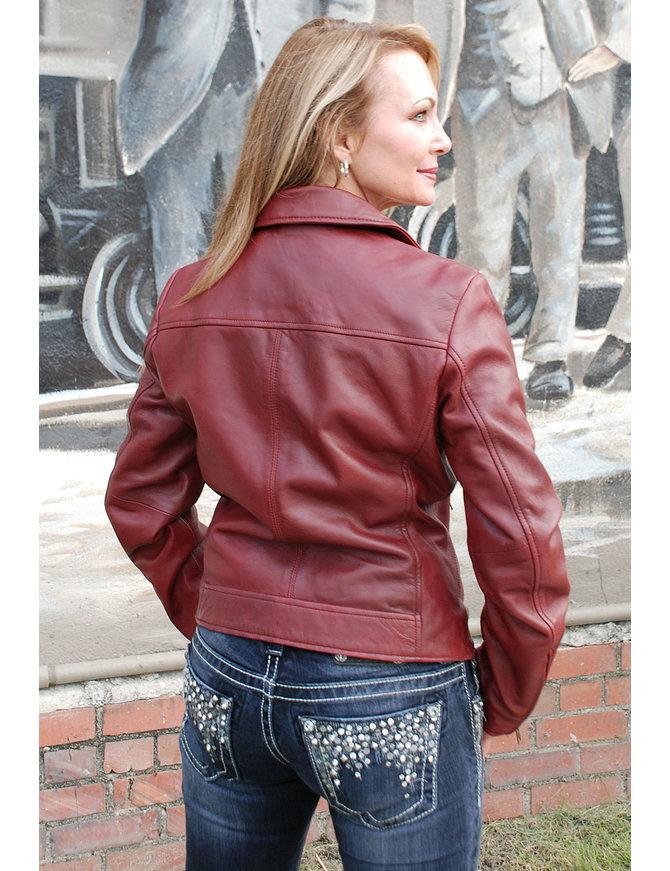 First MFG Women's Super Soft Lambskin Oxblood Motorcycle Jacket #L15073R
