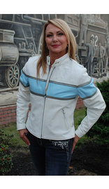 White Classic Scooter Leather Jacket w/Wide Blue Stripe #L55923ZUW