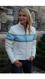 White Classic Scooter Leather Jacket w/Wide Blue Stripe #L55923ZUW (S-L)