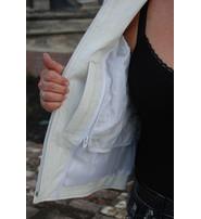 White Classic Scooter Leather Jacket w/Wide Blue Stripe #L55923ZUW