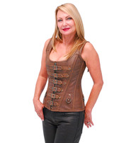 Vance Brown Long Body 6 Buckle Leather Corset w/Boning #LH1319BUCN