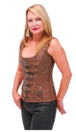 Brown Long Body 6 Buckle Leather Corset w/Boning #LH1319BUCN