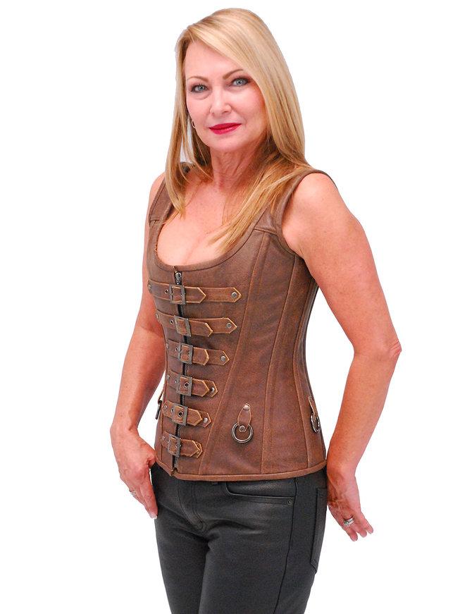 Brown Long Body 6 Buckle Leather Corset w/Boning #LH1319BUCN