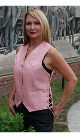 Pink Leather Side Lace Vest - Special #VL412LSPP