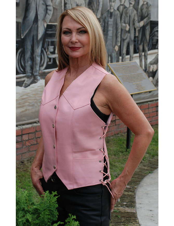 Pink Leather Side Lace Vest - Special #VL412LSPP