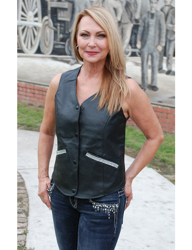 Crystal Trim Leather Vest #VL105CRYS