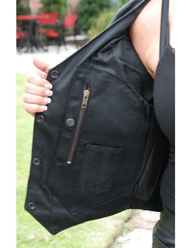 Women's Black Leather Vest with CCW Pockets #VL2658GK