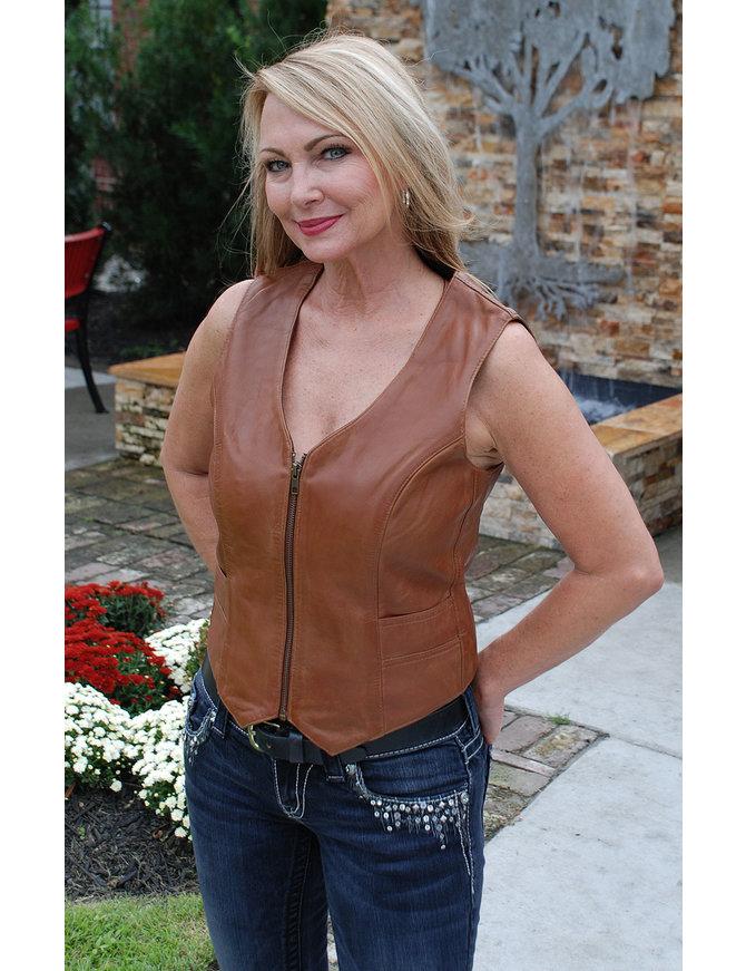 First MFG Tan Lambskin Leather Zip Vest #VL5441ZN