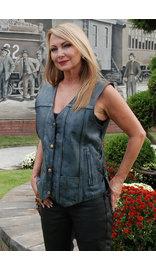 Women's Blue CCW Leather Vest - Special #VLA6873LU