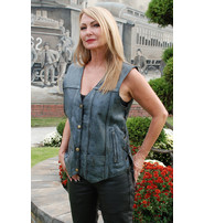Women's Blue CCW Leather Vest - Special #VLA6873LU