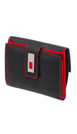 Ladies Medium Black and Red 23 Pocket Organizer Wallet #WL7866SR