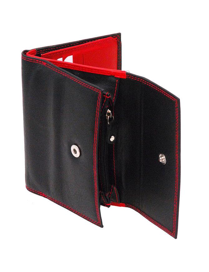 Ladies Medium Black and Red 23 Pocket Organizer Wallet #WL7866SR