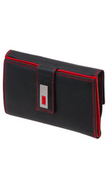 Ladies Large Black and Red 25 Pocket Organizer Wallet #WL7867XLR