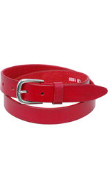"Red Narrow 1"" Wide Leather Belt in Premium Heavy Cowhide #BT15003R"