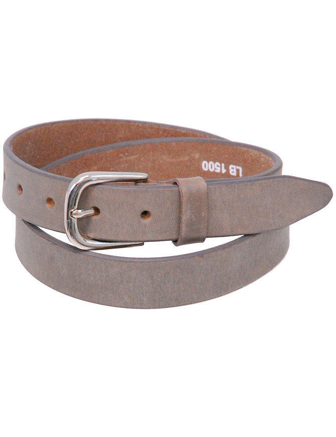 "Gray Narrow 1"" Wide Leather Belt in Premium Heavy Cowhide #BT15002GY"