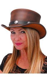 USA Brand SteamPunk Brown Leather Top Hat w/Buffalo Nickle Hatband #H5651BUFN