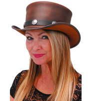 Made in USA SteamPunk Brown Leather Top Hat w/Buffalo Nickle Hatband #H5651BUFN