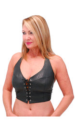 Jamin Leather Soft Deerskin Leather Jamin' Leather Lace Up Halter #LH6073LK