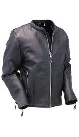 Black Cafe Racer Leather Motorcycle Jacket #M570Z