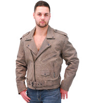 Jamin Leather Men's Light Brown Leather Motorcycle Jacket #MA381ZN