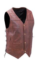 10 Pocket Dark Brown Leather Vest w/CCW Pockets #VM631LN