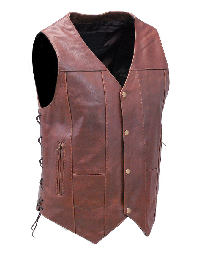 10 Pocket Dark Brown Leather Vest w/CCW Pockets #VM631LN