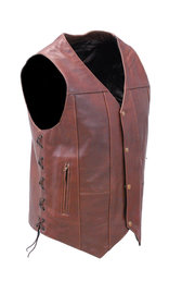 10 Pocket Dark Brown Leather Vest w/CCW Pockets #VM631LN (42-52)