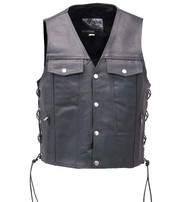Long Leather Vest - Denim Style #VM2601L