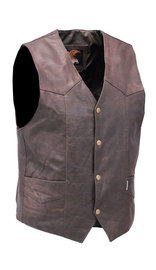 Jamin Leather Premium Rich Brown Leather Plain Men's Vest #VM2621N