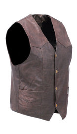 Jamin Leather Premium Rich Brown Leather Plain Men's Vest #VM2621N (44-52)
