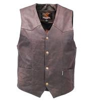 Jamin Leather Premium Rich Brown Leather Plain Men's Vest #VM2621N