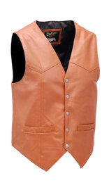 Jamin Leather Light Brown Vintage Waxy Lambskin Leather Vest #VM5081WN