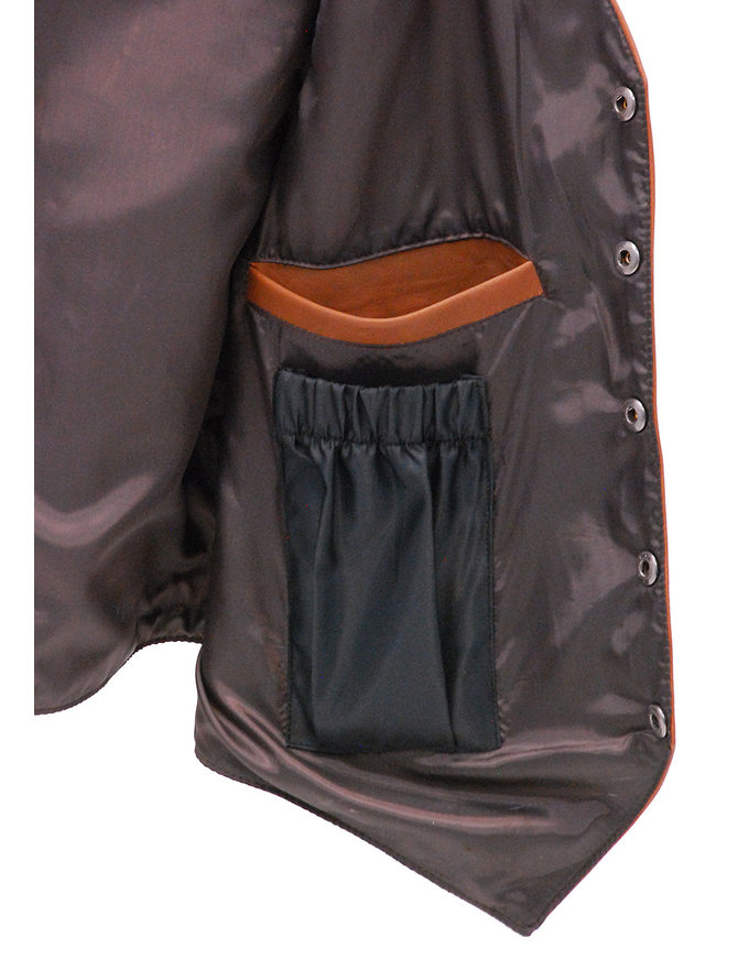Jamin Leather Light Brown Vintage Waxy Lambskin Leather Vest #VM5081WN