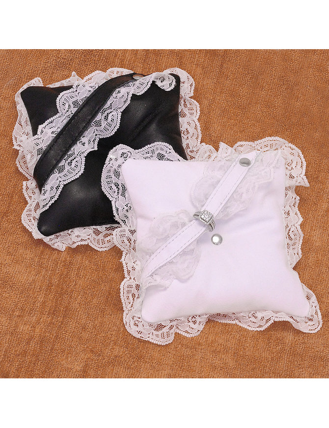 Jamin Leather Ring Bearer Leather Ring Pillow with Lace #A190414
