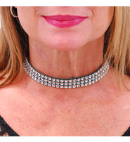 Jamin Leather 3 Row Crystal Mesh Black Leather Choker #N14051SIL