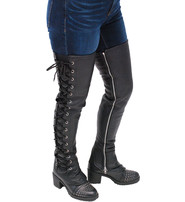 Leather Thigh High Side Lace Boot Upper #A6760XLZK