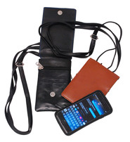 Brown Leather Tall Cell Phone Cross Body Case #AC251N