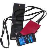 Burgundy Leather Tall Cell Phone Cross Body Case #AC253BG