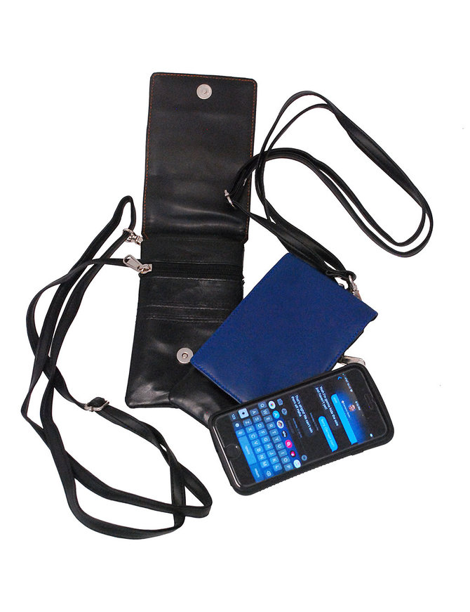 Blue Leather Tall Cell Phone Cross Body Case #AC254U