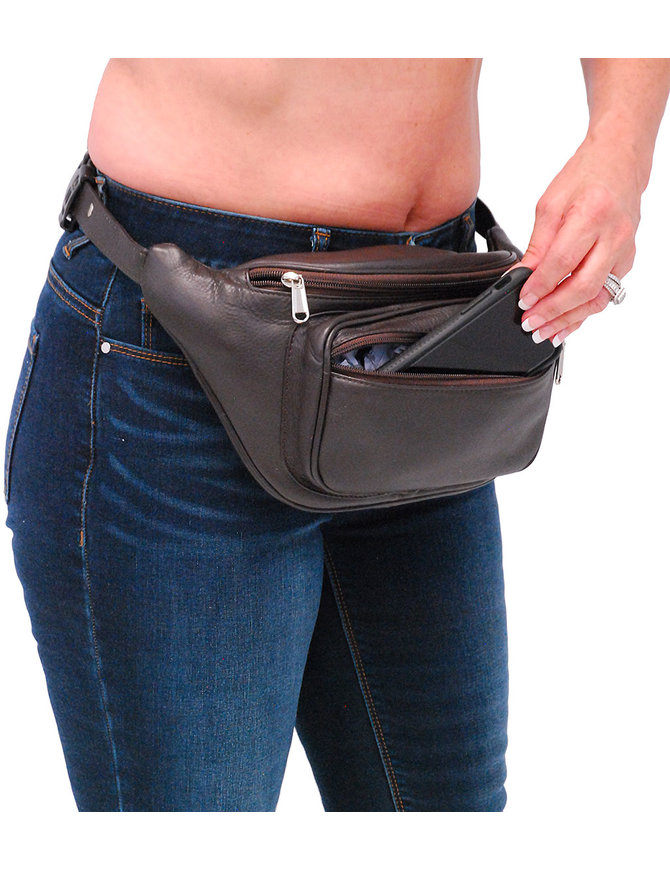 Heavy Dark Brown Cowhide Leather Waist Bag #FP312N