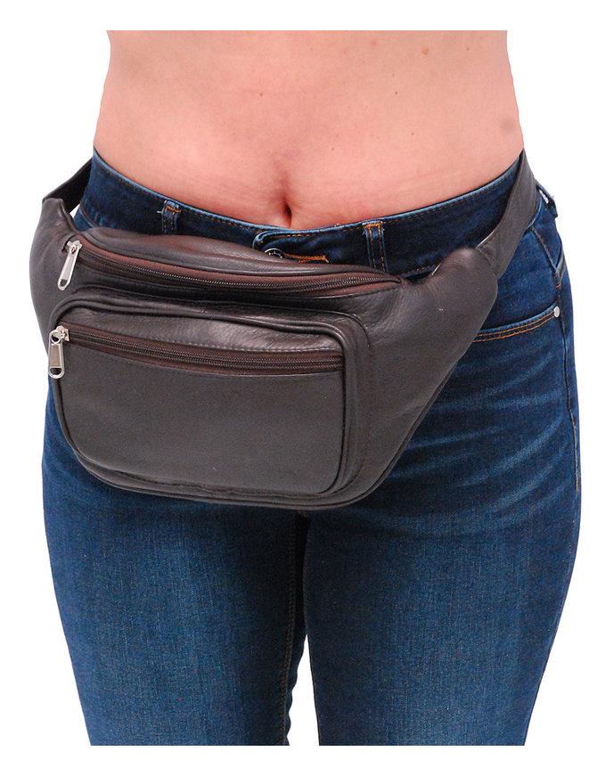 Heavy Dark Brown Cowhide Leather Waist Bag #FP312N