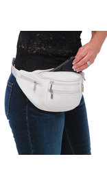 White Cowhide Leather Waist Bag #FP30774W