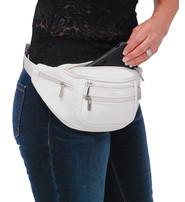 White Cowhide Leather Waist Bag #FP30774W
